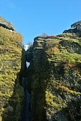 Iceland-view of Gljúfrafoss waterfall and its surroundings