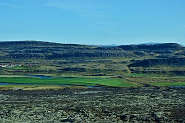 Iceland-view of landscape from Grabrok Crater