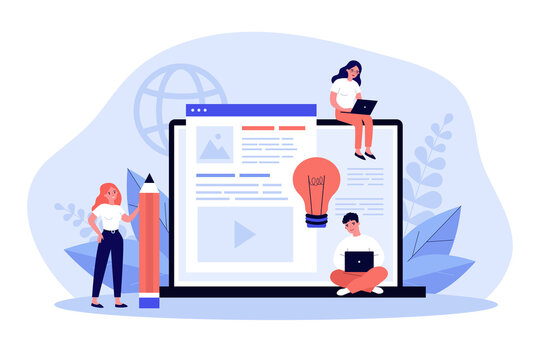Blog authors writing articles. Freelance writers with laptops creating internet content. Vector illustration for online education, people of creative job, seo marketing concept