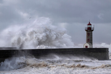 Big stormy sea wave splash