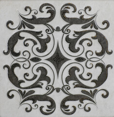 ceramic tile with abstract mosaic floral pattern