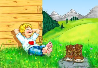 Junge Kind sitzt barfuß bequem Hände hinter Kopf angelehnt Lächeln Himmel Blick aufwärts hoch oben Wanderer wandern Schuhe Pause Berge Gebirge Allgäu Bayern Österreich Schweiz Tirol Urlaub Herz Natur