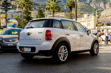 MONTE CARLO,  MONACO - AUG 13, 2017: Mini Cooper car in Monte Carlo, a place with lots of new high class automobiles