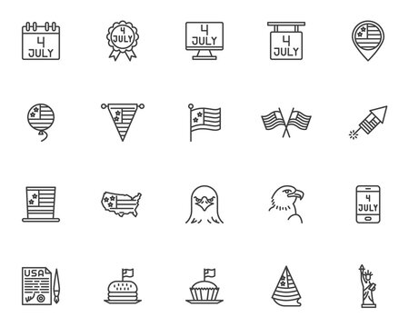 Independence day line icons set. linear style symbols collection, outline signs pack. vector graphics. Set includes icons as USA flag, statue of liberty, 4th july calendar, United States Declaration