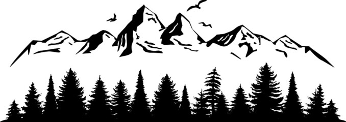 Wall Murals White Mountain Forest Tree Landscape Silhouette Vector