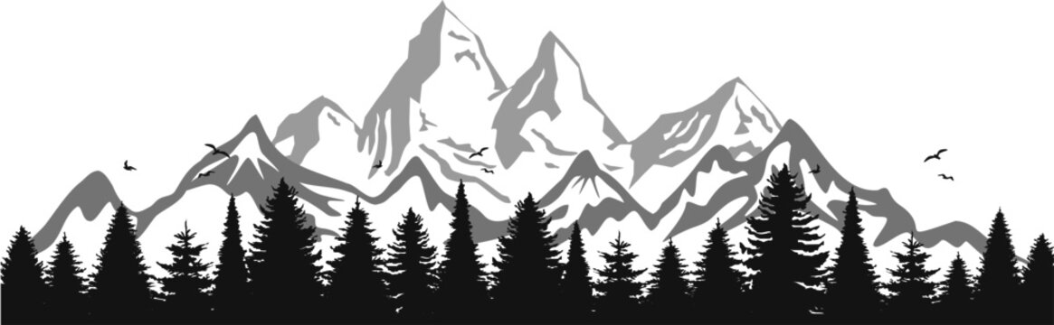 Mountain Forest Tree Landscape Silhouette Vector