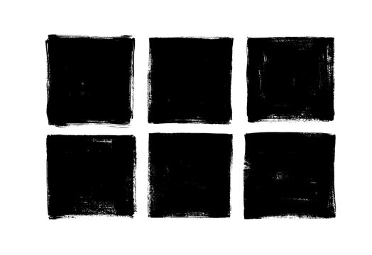 Set of grunge square template backgrounds. Vector black painted squares or rectangular shapes.