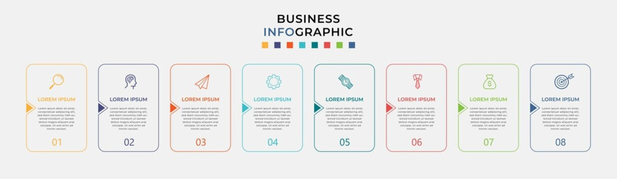 Business Infographic design template Vector with icons and 8 eight options or steps. Can be used for process diagram, presentations, workflow layout, banner, flow chart, info graph