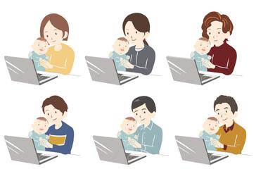子供の世話をしながらテレワークをする(線無し)