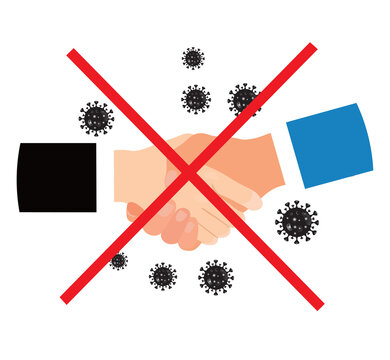 No handshake for virus prevention concept. Bacteria when shaking hands. vector illustration. covid 19