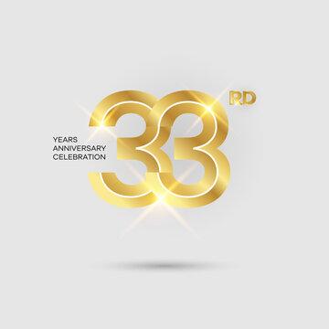 33rd 3D gold anniversary logo isolated on elegant background, vector design for celebration purpose