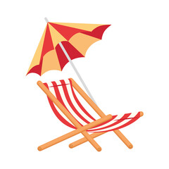 Wall Mural - beach chair and umbrella on white background vector illustration design