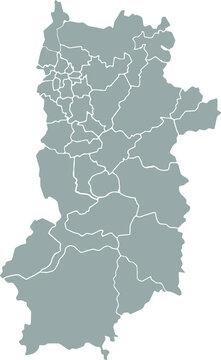 Nara map Isolated on white background. Kansai  region. gray map vector.
