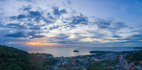 areial panorama photography sunset above Kata village in Phuket Thaland