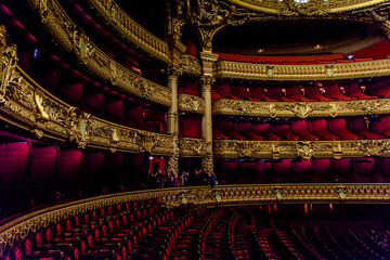 PARIS - APRIL 1, 2018: Auditorium of the Palais Garnier, an opera house in Paris, France