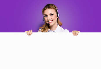 Call Center Service. Customer support or sales agent. Businesswoman or caller or receptionist phone operator showing banner with copy space. Helping, answering, consulting. Violet purple background.