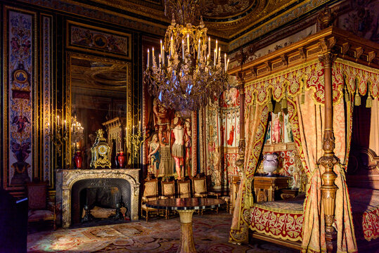 SEINE-ET-MARNE, FRANCE - MARCH 31, 2018: Anne of Austria's bed chamber in the Palace of Fontainebleau, one of the largest French royal castles. UNESCO World Heritage Site.