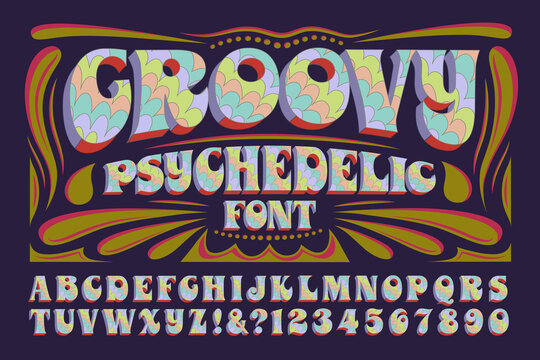 A Groovy Hippie Style Psychedelic Alphabet; This 1960s Style Font Has Multicolored Pastel Hues and 3d Effects
