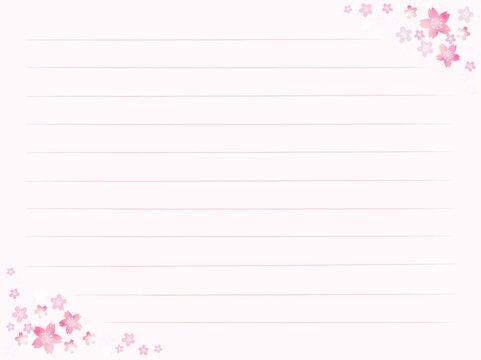 桜の花の便箋 横書き よこ用紙