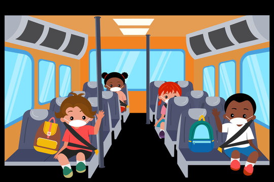 diversity kids wearing face mask and keep social distancing while sit on school bus. New normal and back to school concept.