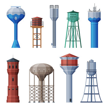 Water Towers Collection, Liquid Storage Tanks, Countryside Life Objects Flat Vector Illustration on White Background