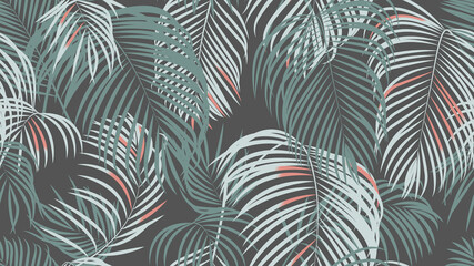 Foliage seamless pattern, simple palm leaves on dark grey