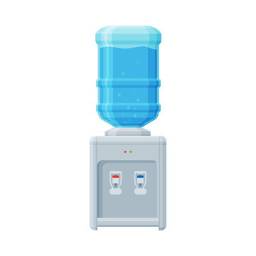 Water Cooler, Office or Home Equipment, Water Dispenser with Plastic Bottle Vector Illustration on White Background