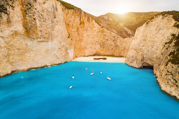 Stores à enrouleur Naufrage Navagio bay and Ship Wreck beach in summer. The most famous natural landmark of Zakynthos, Greek island in the Ionian Sea