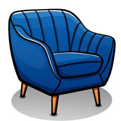Vector blue armchair cartoon  isolated