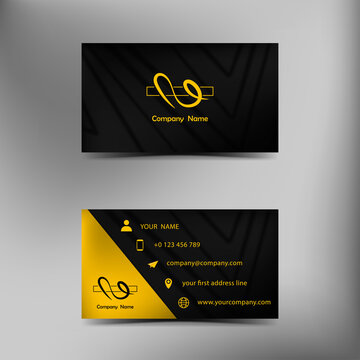 Black texture business card template with yellow logo on grey background.
