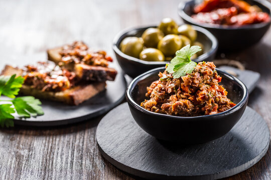 Tapenade - delicious olive paste from France with ingredients