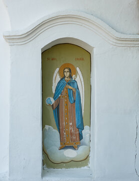 The portrait of St. Mihail at the monastery  Surpatele, Gorj, Romania