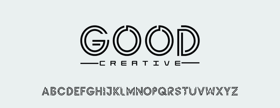 Creative abstract modern fonts. Minimalist bold typography urban font style. Vector illustration and tech logo