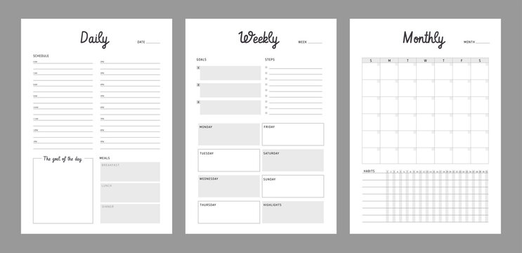 3 Set of minimalist planners. Daily, weekly, monthly planner template. Simple printable to do list. Business organizer page. Paper sheet. Realistic vector illustration.