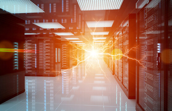 Electricity lightning in servers data center room storage systems 3D rendering