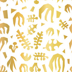 Abstract plants summer collage seamless vector pattern faux metallic gold foil on white. Contemporary minimalistic leave shapes background.