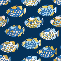 Blue and gold clown trigger fish seamless vector pattern. Colorful ocean animal background for kids with gold foil elements. Exotic tropical clown trigger fishes.