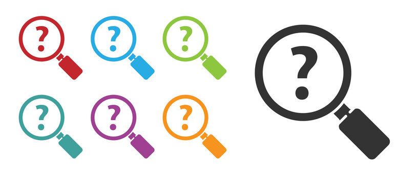 Black Unknown search icon isolated on white background. Magnifying glass and question mark. Set icons colorful. Vector Illustration.