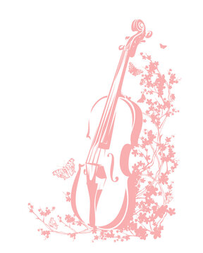 violin among blooming cherry tree branches and flying butterflies - spring season musical instrument floral vector outline