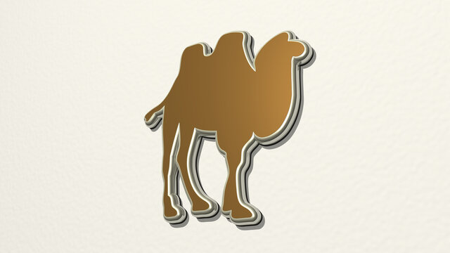 two hump camel on the wall. 3D illustration of metallic sculpture over a white background with mild texture. animal and desert