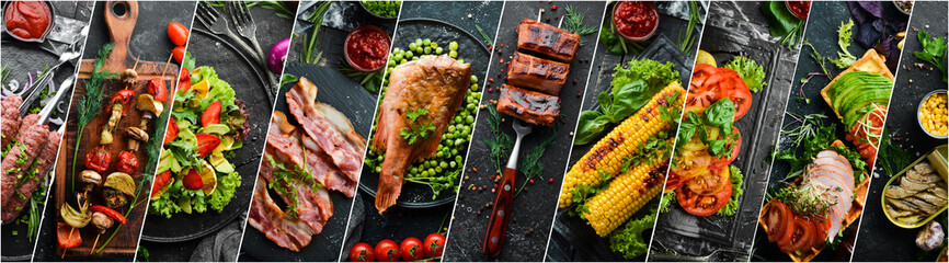 collage of various food products on a black background. Top view.