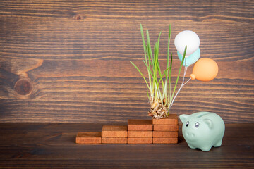 Economics, budget, development and planning concept. Green grass, colored balloons and piggy bank