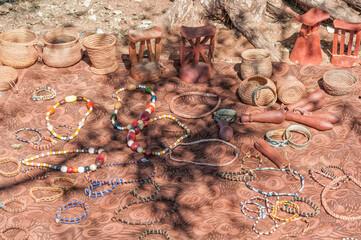 Himba arts and crafs for sale at a Himba village