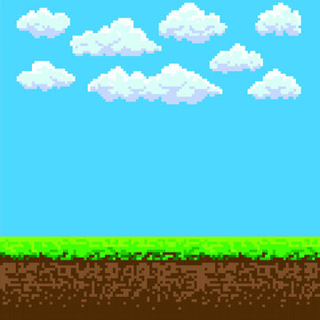 Pixel art game background with ground, grass, sky and clouds.