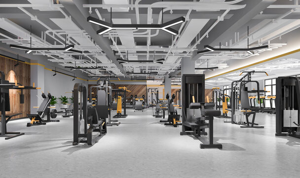 3d rendering modern loft gym and fitness