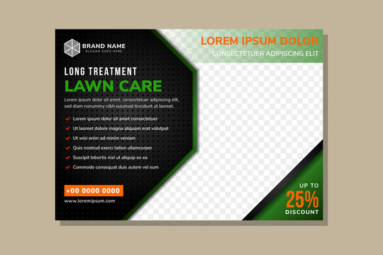 banner sales, eco products, grass care. Landscape service company business poster for landscaping and gardening template. horizontal  architecture design studio brochure design with green and black