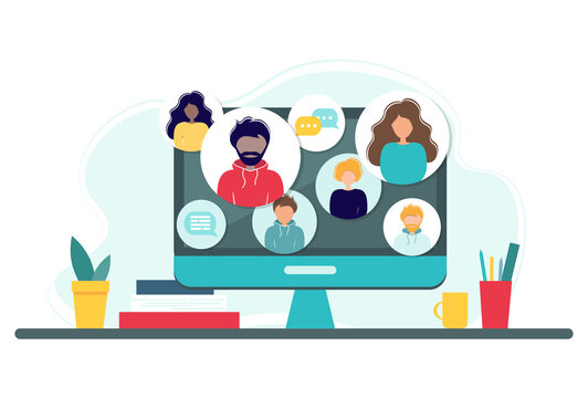 Online meeting via group call. Home office concept with computer, books and cup. Group of people doing video conference. Vector illustration in flat style. Stay at home. Self-isolation