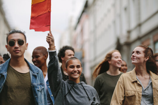 Marchers at the gay pride parade in the city