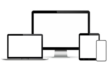 Modern computer display, laptop, tablet and smart phone