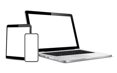 Gadgets including smartphone, digital tablet and laptop, blank screen with copyspace